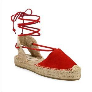 Soludos Lace Up Espadrille Red Platform Sandal